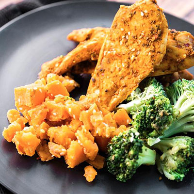 Portuguese Free Range Chicken with sesame sweet potato and broccoli